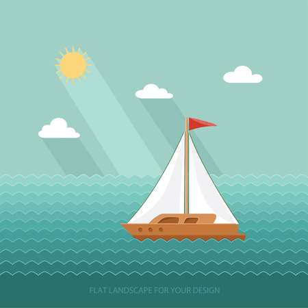 barque: Sailboat on the background of the ocean, the sea. Yacht Club. Flat design style vector illustration.