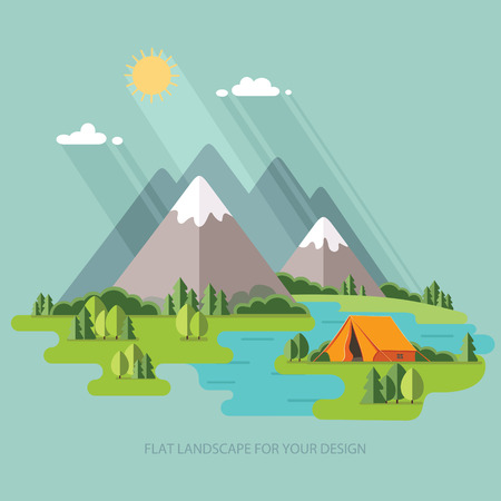 summer  landscape. Morning landscape in the mountains. Solitude in nature by the river. Weekend in the tent. Hiking and camping. Vector flat illustration Vettoriali