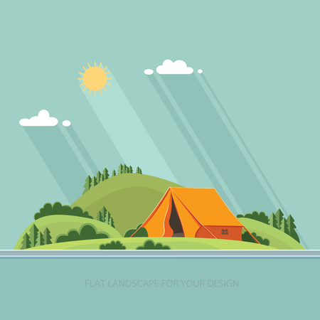 romance bed: summer  landscape. Morning landscape in the mountains. Solitude in nature by the river. Weekend in the tent. Hiking and camping. Vector flat illustration Illustration