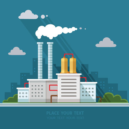 Ecology Concept - industry factory. Flat style vector illustration. 矢量图像