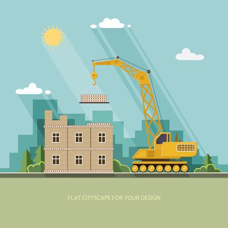 building site: Construction site, building a house. Front apartment house. Flat style vector illustration.