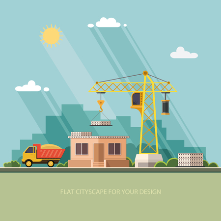 cement solution: Construction site, building a house. construction store. Flat style vector illustration.