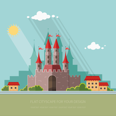Cityscape. Medieval castle in Western Europe, on the background of the city. Vector flat illustrations Stock Illustratie
