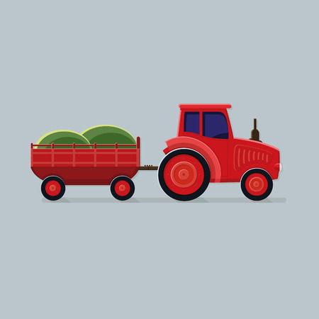 Red tractor with trailer on a light background. Flat style vector icons.