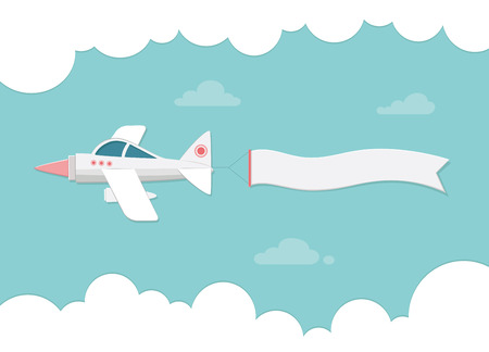 busines: Small plane carrying a banner. Flat vector illustration for banners Illustration