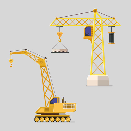 Lifting crane doing heavy lifting. Tower and harbor lifters. Flat style vector icons. Illustration