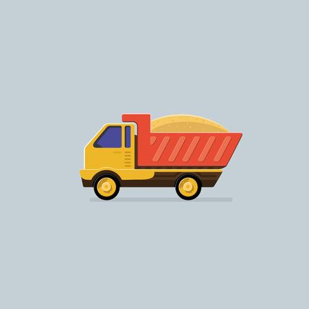 earthmoving: Transportation. Dump truck. Flat style vector icons.