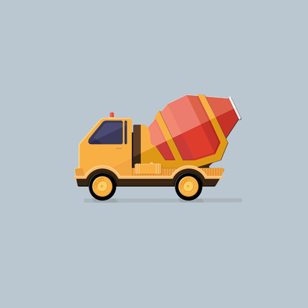 concreting: Yellow Concrete Mixer Truck. Flat style vector icons.