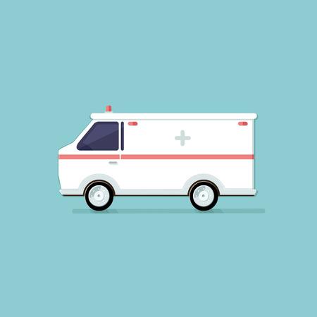 response: Ambulance on a light background. illustration. Flat style vector icons.