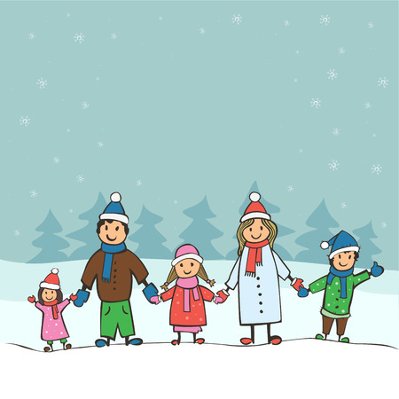 carols: Childrens drawing a big happy family. Christmas card vector illustration