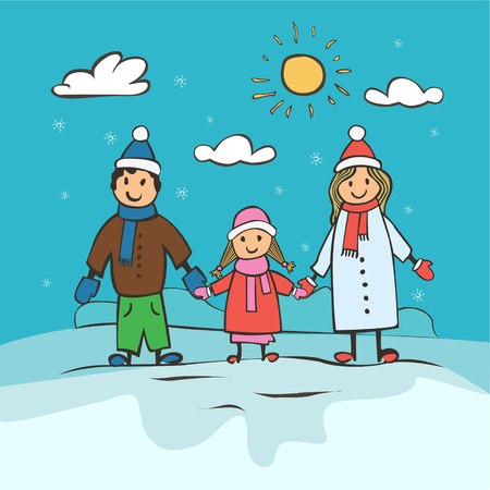 family: Childrens drawing a happy family. Christmas card vector illustration