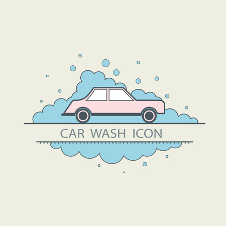 Car wash design layout. Corporate vector symbol concept. template icons. flat illustrations Illustration