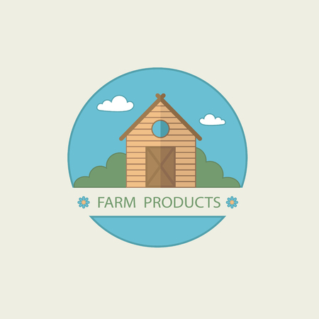 Farm Villa ecology design vector template. House in countryside Real Estate. Realty icon. 向量圖像