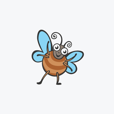 Funny butterfly, beetle. Flat Vector icons for your design Illustration
