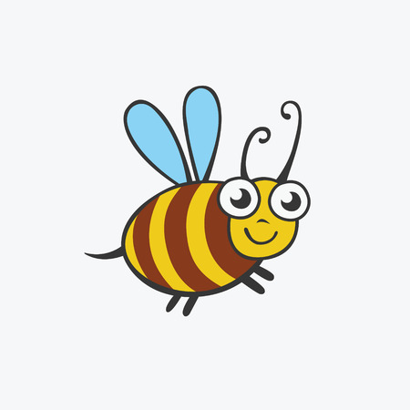 Friendly bee, funny illustration for your design. Flat icon