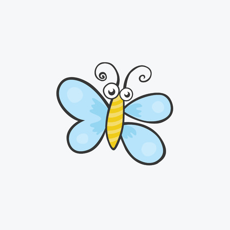 Funny butterfly with blue wings. Flat icons for your design