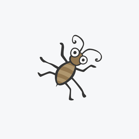 stag beetle: funny green beetle. Flat icons for your design Illustration