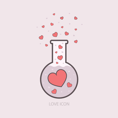 Chemistry of love. Laboratory elixir template. vector icons