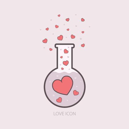 elixir: Química del amor. plantilla elixir de laboratorio. iconos del vector