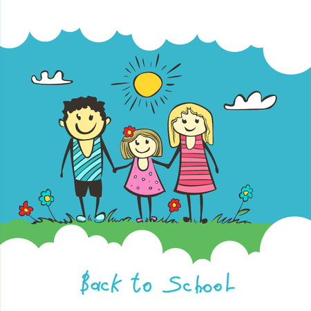 Back to school. Parents are a child in school. happy child, Mom and Dad