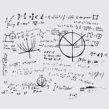 coordinates: Math education vector with handwritten formulas, tasks, plots, calculations and geometrical figures. Mathematical background handwritten