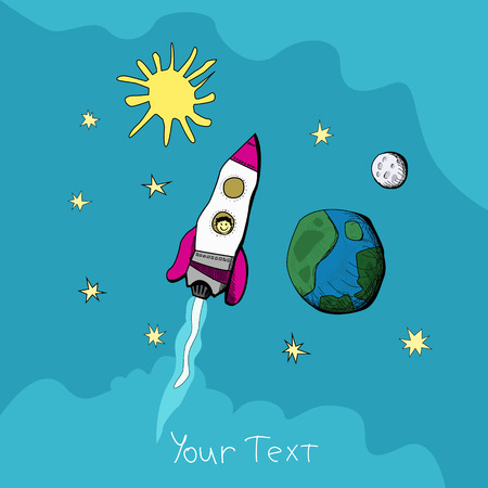 Childs drawing of a rocket at the outer space near the planets. vector illustrations
