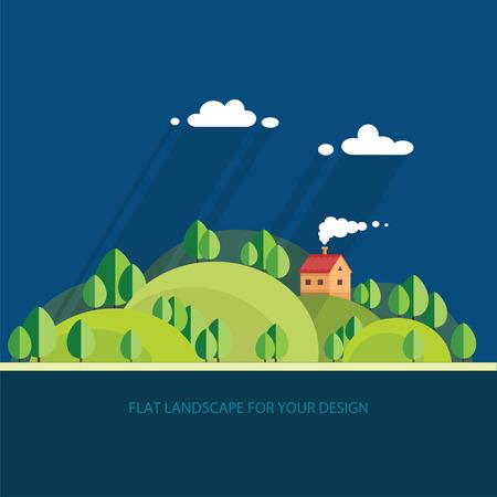 fishing village: summer landscape.beautiful house on the hill among trees, beautiful views. Flat style, vector illustration. Illustration