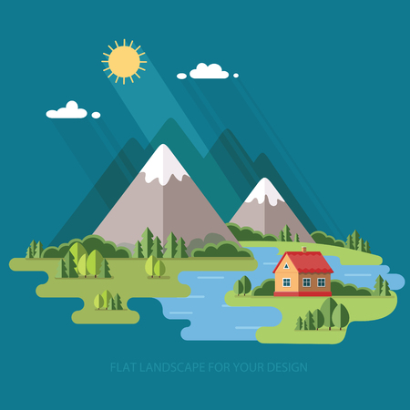fishing village: summer  landscape. Houses in the mountains among the trees, rest in a mountain village the lake and the river. Flat design style vector illustration. Illustration