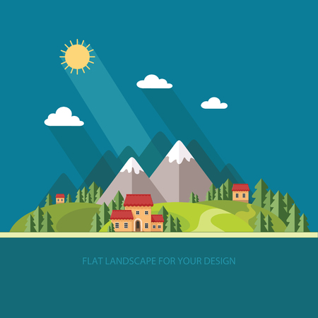 fishing village: Landscape. Houses in the mountains among the trees. Flat style, vector illustrations