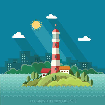 Summer landscape. The lighthouse on the background of the city. Flat design style vector illustration.