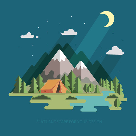 summer landscape. night landscape in the mountains. Solitude in nature by the river. Weekend in the tent. Hiking and camping. Vector flat illustration