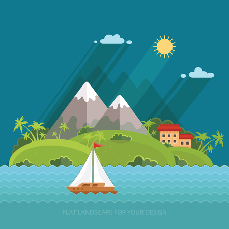 fishing village: Nature - Color vector flat icon set and illustration summer time: village, mountain, sun, clouds, trees nature, sea, boat, sail, fishing, walking