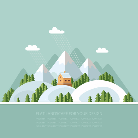 snowcapped: Winter landscape mountains snow-capped hills. flat vector illustration Illustration