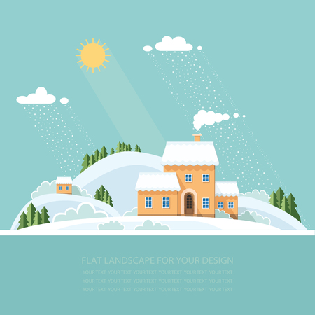 snowcapped landscape: Winter landscape mountains snow-capped hills. flat vector illustration Illustration