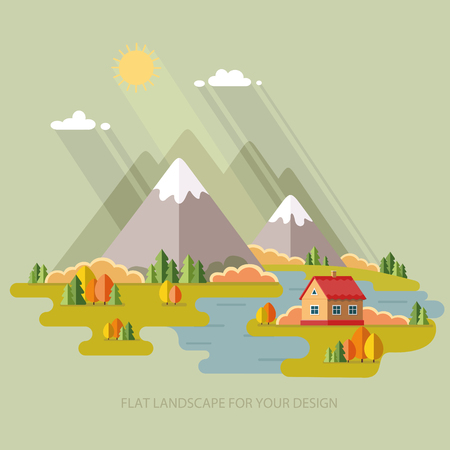 fishing village: Autumn landscape. Vacation home on a background of mountains. Vector illustration in flat design style.
