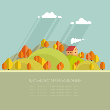 fishing village: autumn landscape.beautiful house on the hill among trees, beautiful views. Flat style, vector illustration. Illustration
