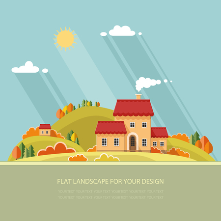 autumn landscape. Little city street with small houses and trees. Flat style vector illustration.