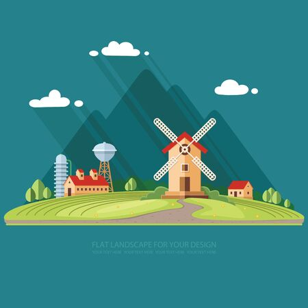 Rural landscape. Agricultural industry, Agriculture mountains in the background. Flat design style vector illustration.