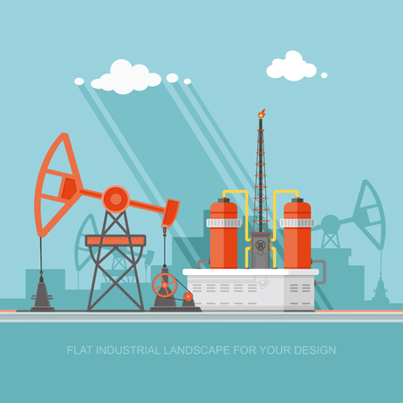 Ecology Concept - Oil industry vector illustration, Infographics. Processing of gasoline fuel. icons for your design Иллюстрация