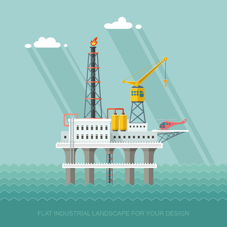 poison sea transport: Ecology Concept - Oil production in the sea. industry vector illustration Infographics. Processing of gasoline fuel. icons for your design Illustration
