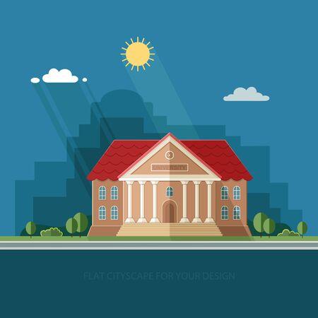 University on the city background. College School. Flat style vector illustration. Illustration