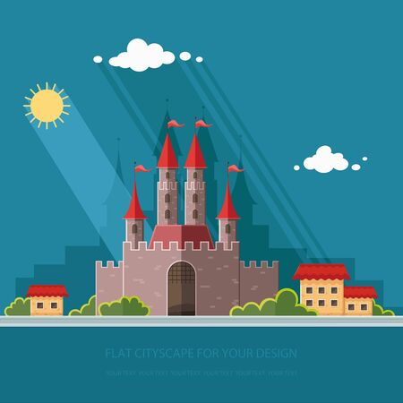 Cityscape. Medieval castle in Western Europe, on the background of the city. Vector flat illustrations Illustration