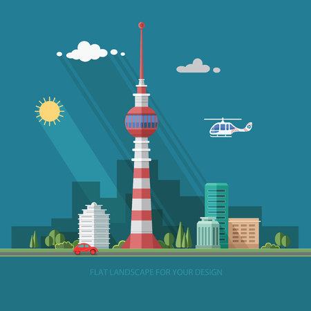 TV tower. Mass media. cityscape. Flat style vector illustration. Illustration