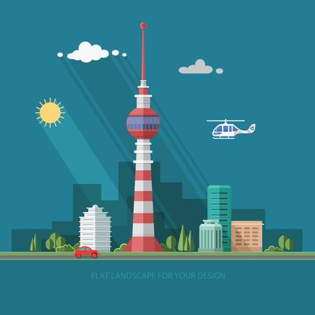 cellular repeater: TV tower. Mass media. cityscape. Flat style vector illustration. Illustration