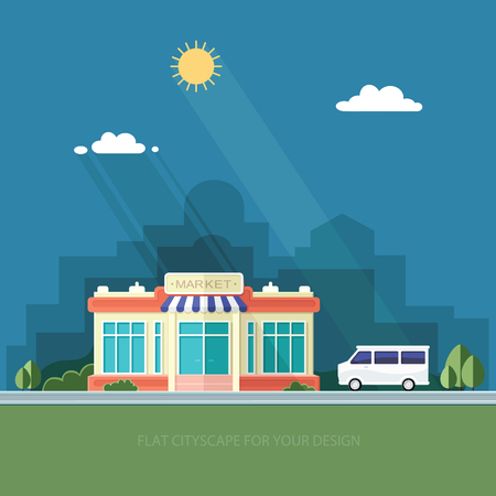 Cityscape. A supermarket and a car. City shop. Flat style vector illustration.