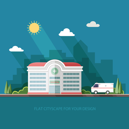 City landscape. Hospital on the background of the city. Clinic building with ambulance car. Flat vector illustration.
