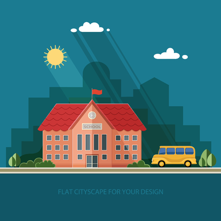 Welcome back to school. Building and school bus on the background of the city. Flat style vector illustration. Illustration