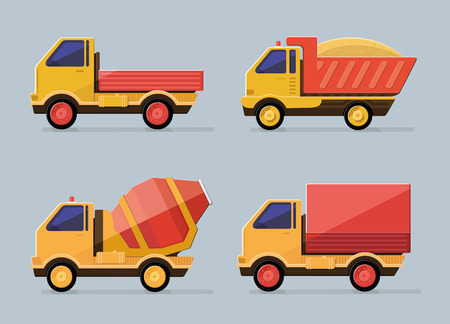 wheeled tractor: cute constructions truck  for transportation set icons.  Flat style vector Illustration