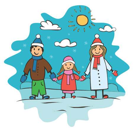 carols: Childrens drawing a happy family. Christmas card vector illustration
