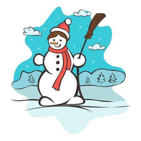 carols: Childrens drawing a snowman. Christmas card vector illustration Illustration